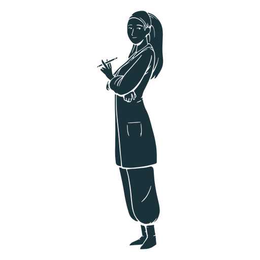 Holding pencil doctor silhouette