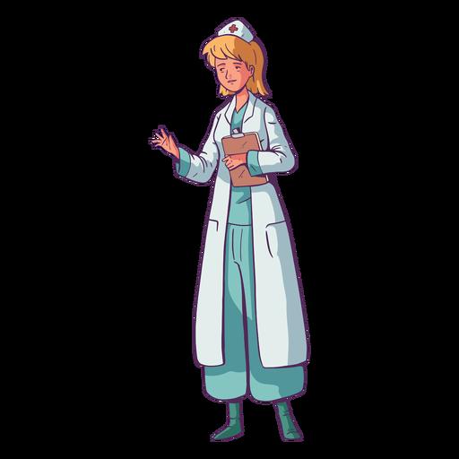 Illustration holding clipboard doctor