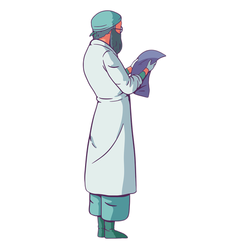 Looking at paper doctor colored