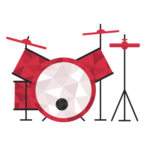 Low poly drum set colored