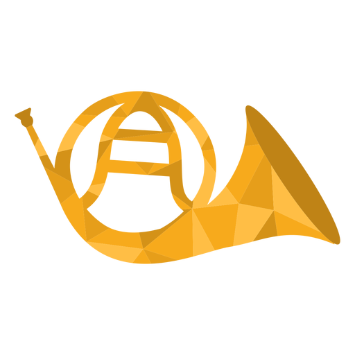 Low poly french horn colored