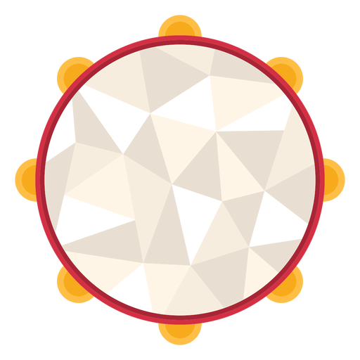 Low poly tambourine colored