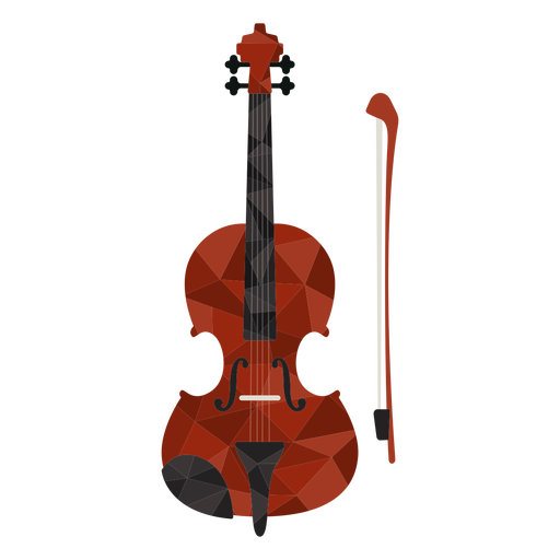 Low poly violin colored
