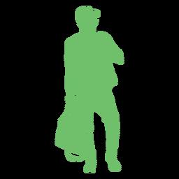 Silueta de pose de bolso de hombre