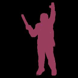 Silueta de vista frontal de director de orquesta