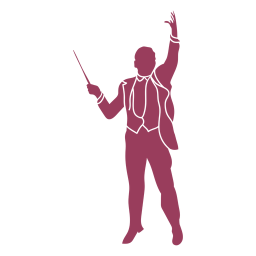 Orchestra conductor front view silhouette