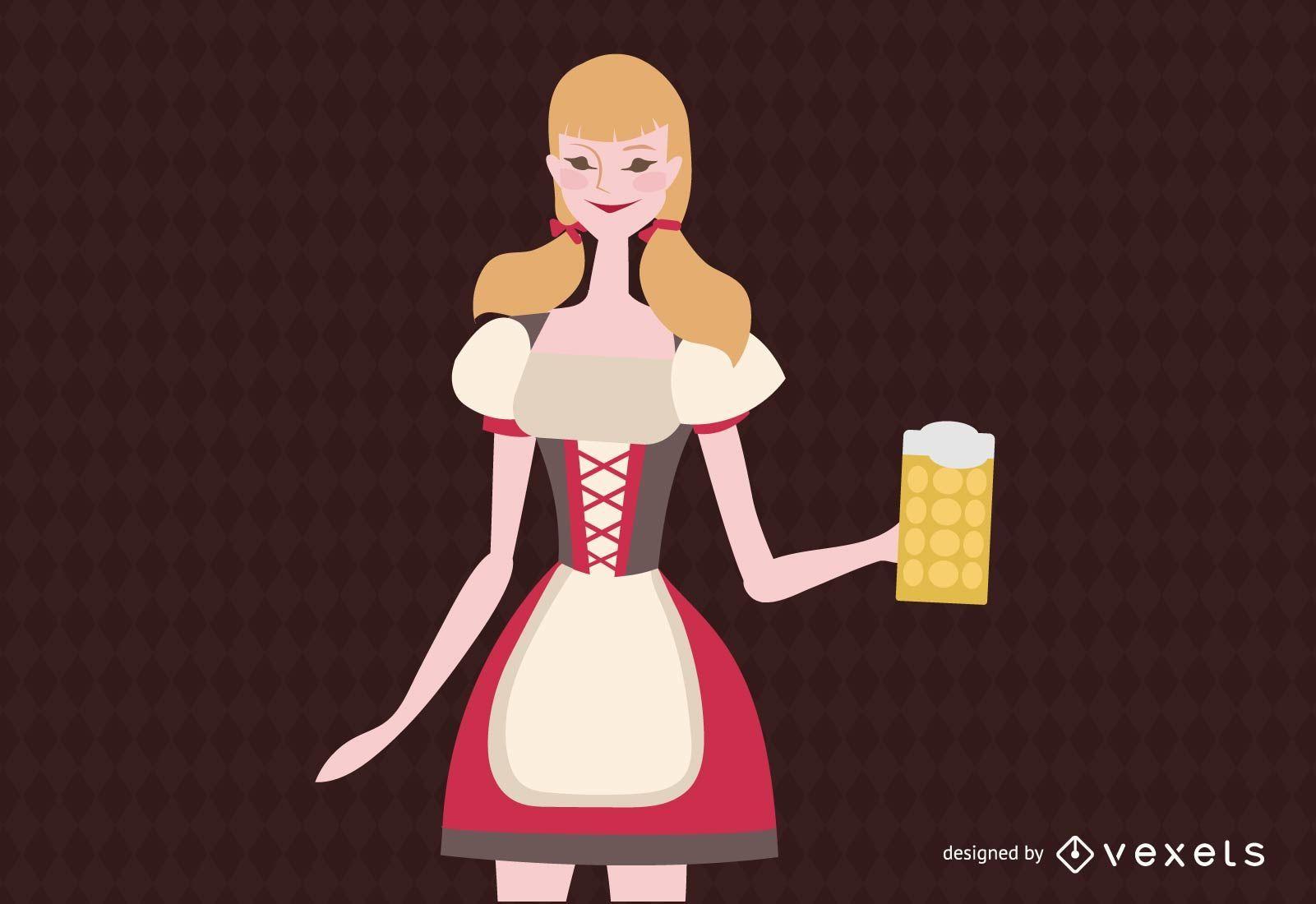 Vector libre camarera alemana
