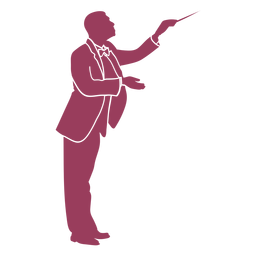 Side view orchestra conductor silhouette