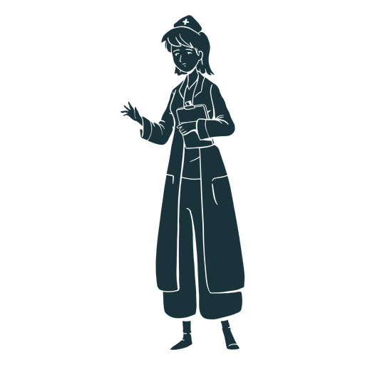 Silhouette holding clipboard doctor