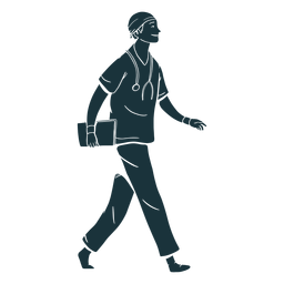 Silhouette smile walking doctor
