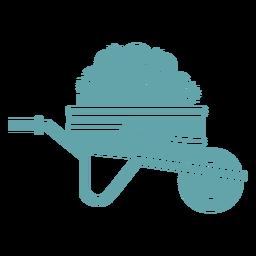 Silhueta carrinho de mão jardinagem planta