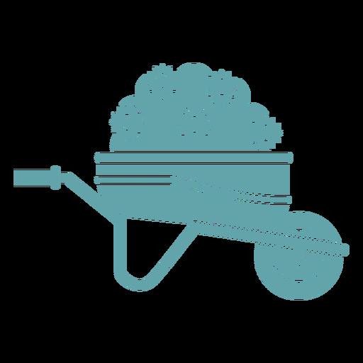 Silueta carretilla planta jardinería