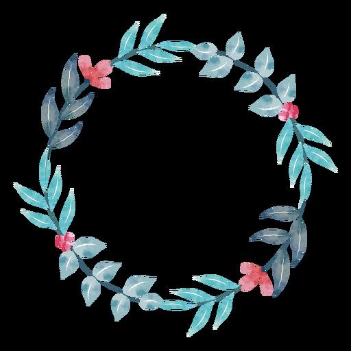 Simple watercolor plant wreath Transparent PNG
