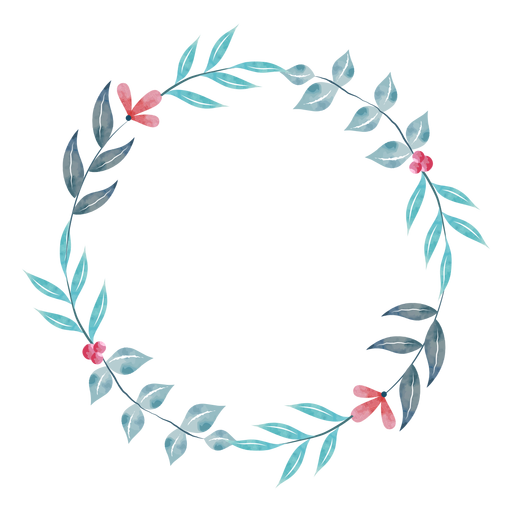 Simple watercolor plant wreath