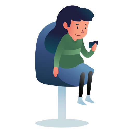 Chica sentada teléfono esperando Transparent PNG