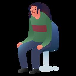 Sentado hombre de pelo largo