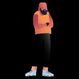 Carácter de hombre con barba de pie