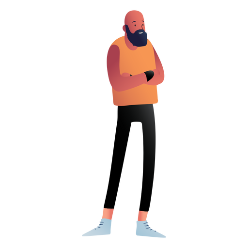 Standing beared man character Transparent PNG