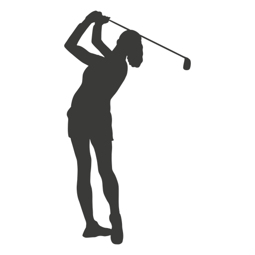Swinging golf player silhouette Transparent PNG