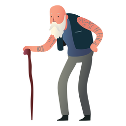 Personagem de homem velho tatuado