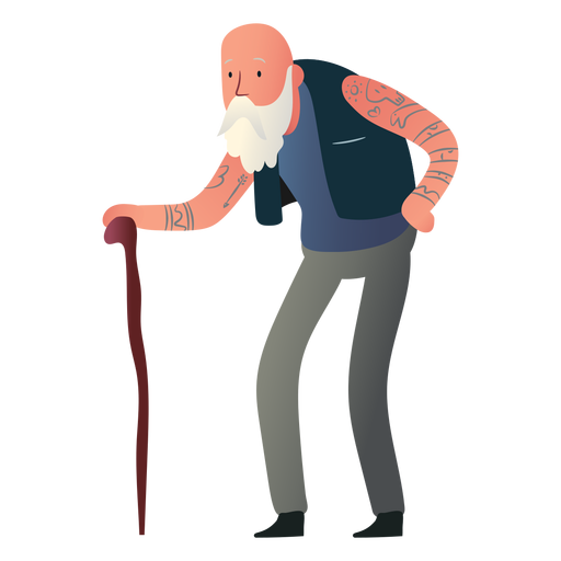 Tattooed old man character
