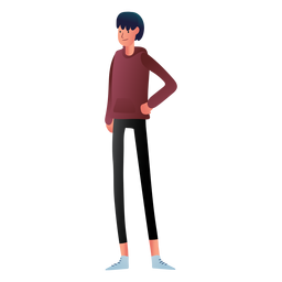 Carácter adolescente con capucha