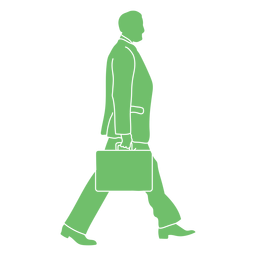 Walking man handbag silhouette