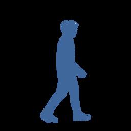 Silueta de vista lateral de hombre caminando