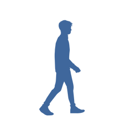 Walking man side view silhouette