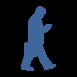 Homem andando com silhueta de telefone