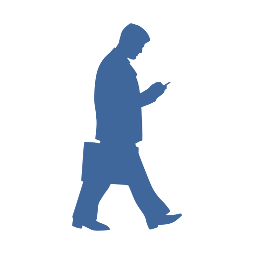 Walking man with phone silhouette