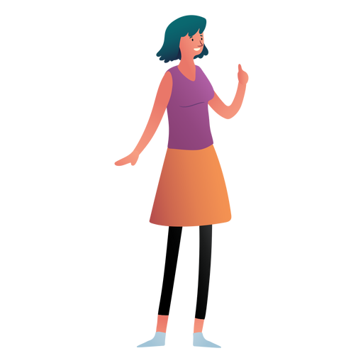 Woman character finger up