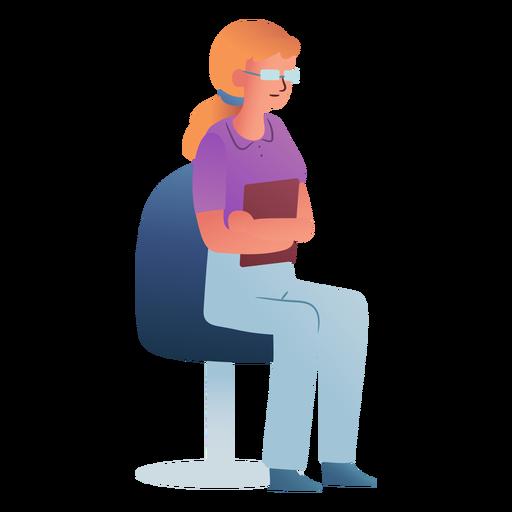 Mujer gafas asistente personaje sentado Transparent PNG