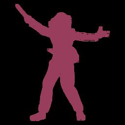 Mujer orquesta conductor rojo
