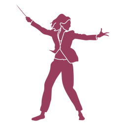 Woman orchestra conductor red