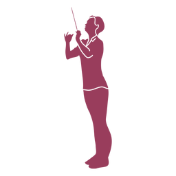 Woman side orchestra conductor silhouette