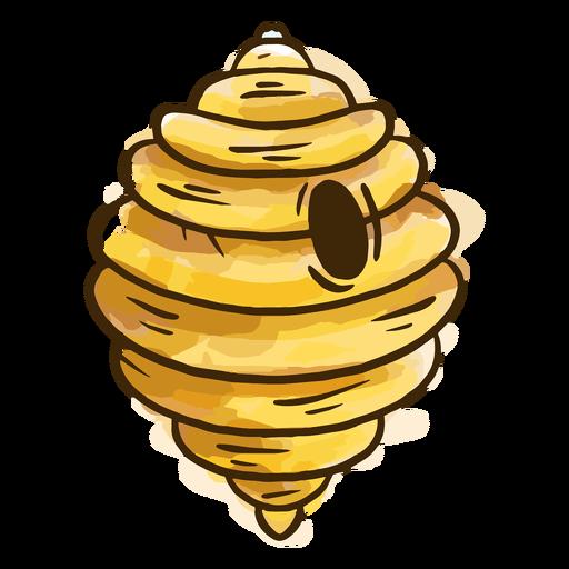Acuarela de colmena de abejas