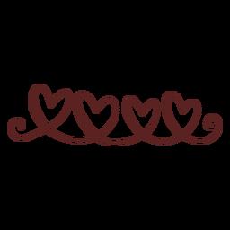 Cute hearts hand drawn stroke