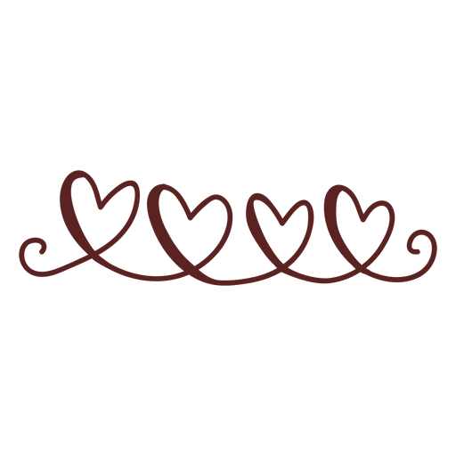 Cute hearts hand drawn stroke Transparent PNG