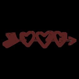 Traçado de corações mão desenhada seta