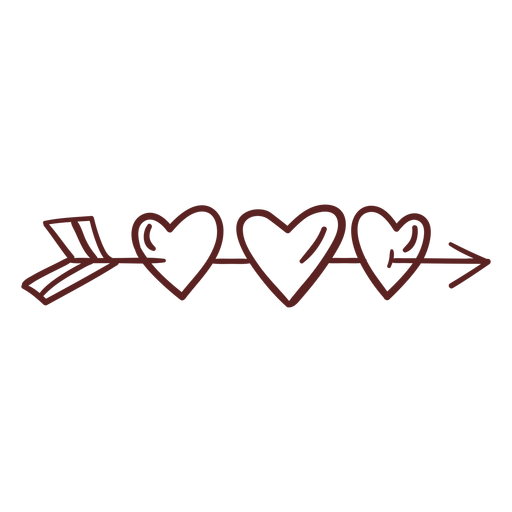 Hand drawn arrow hearts stroke Transparent PNG