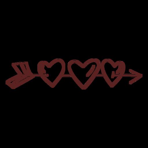 Hand drawn arrow hearts stroke