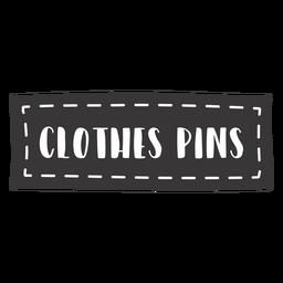 Pinos de roupas de mão desenhada letras