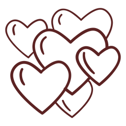 Hand drawn cute hearts stroke