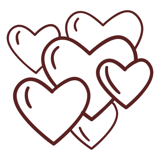 Hand drawn cute hearts stroke Transparent PNG