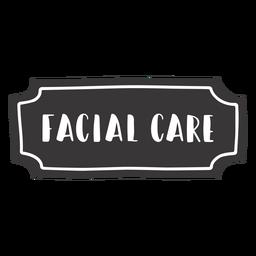 Etiqueta de cuidados faciais desenhada à mão