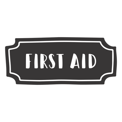 Etiqueta de primeros auxilios dibujada a mano