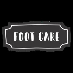 Etiqueta de cuidados com os pés desenhada à mão