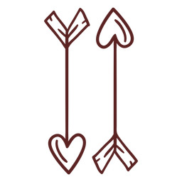 Hand drawn heart arrows stroke