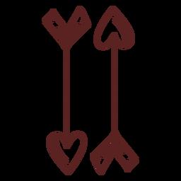 Traçado de flechas de coração mão desenhada